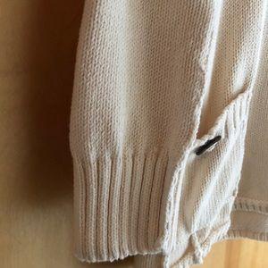 Pure Sweaters - Pure Handknit cream cotton shawl-collar sweater